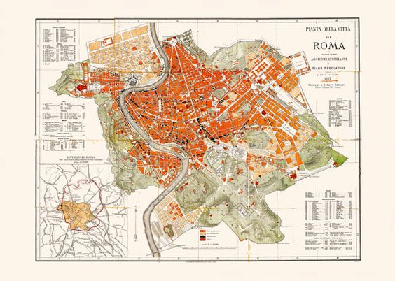 MAP of ROME ITALY Italy Map Art by EncorePrintSociety on Etsy