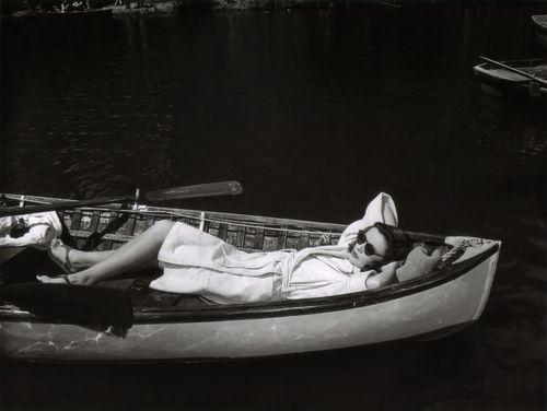 Gene Tierney on a boat.
