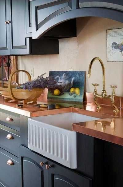 23 Copper Countertop Design Ideas For Your Kitchen Bar Black Kitchen Cabinets Black Kitchens Black And Copper Kitchen
