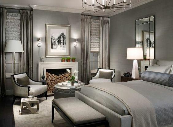 Schlafzimmer ideen weiß grau  graue-Designs-schlafzimmer-kamin - lampe in weiß- wandfarbe grau ...