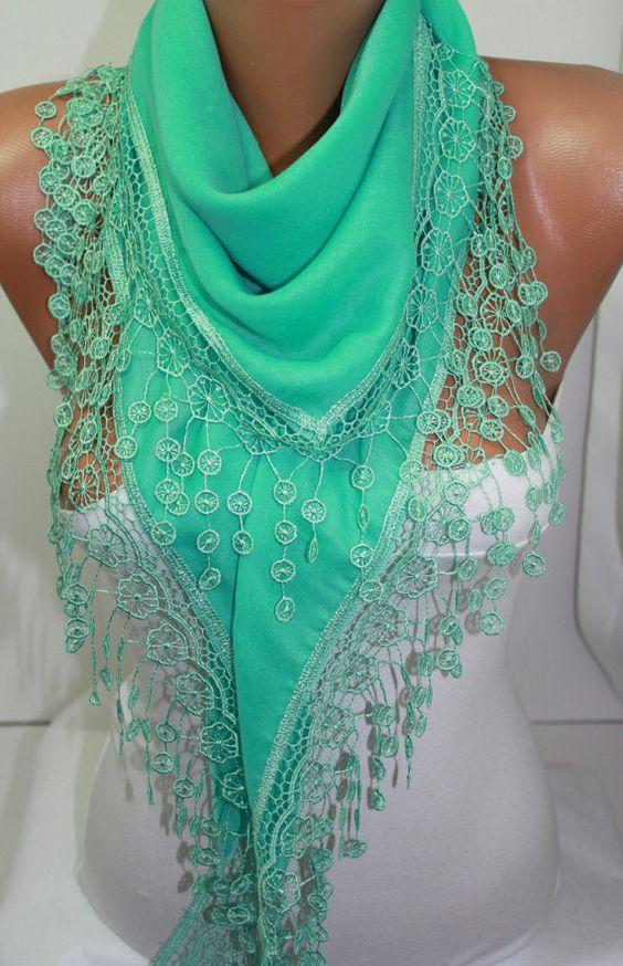 Cyber Monday Mint Schal Baumwolle Schal Lace Schal von DIDUCI