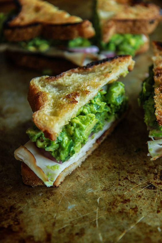 Guacamole, smoked turkey and bacon toasted sandwich from HeatherChristo.com