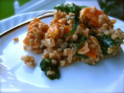 Sweet Potato and Spinach Farro Risotto | Recipe | Risotto, Spinach and ...