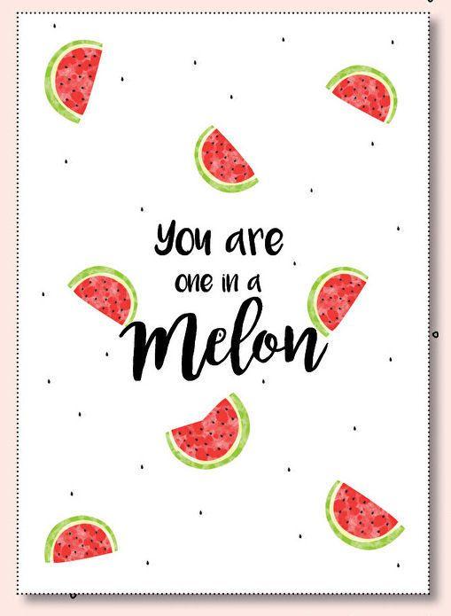 Kaartje You are one in a melon. Een vrolijk zomerse ansichtkaart met meloenen en tekst You are one in a melon. De kaart is geprint op dik kaartpapier met ruwe matte uitstraling.  Op de achterzijde is ruimte voor een adres en een persoonlijke boodschap. Leuk om te versturen, maar ook om op te hangen in een lijstje of met tape aan de muur!