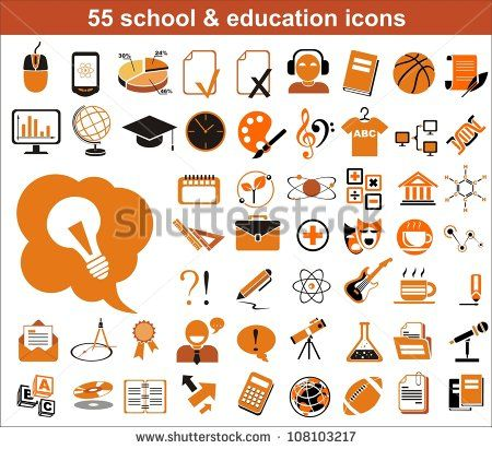 55 education icons. Vector version also available in portfolio - stock photo