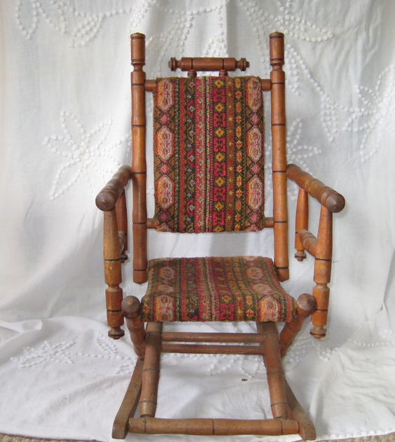 Antique Rocking Chair, Childs rocking chair, upholstered childs rocker ...