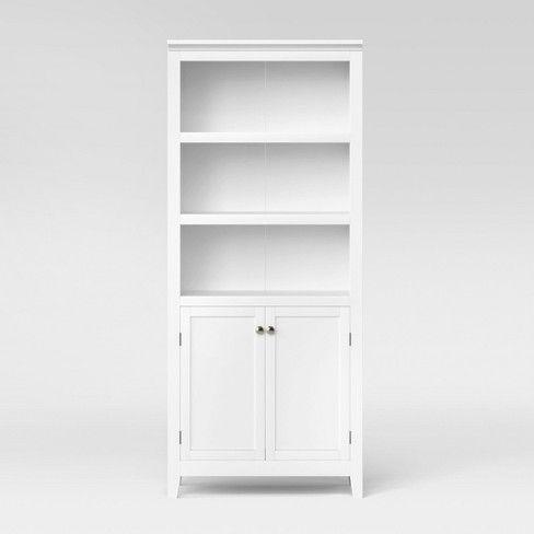 72 5 Shelf Bookcase W Storage Rustic Threshold 5 Shelf