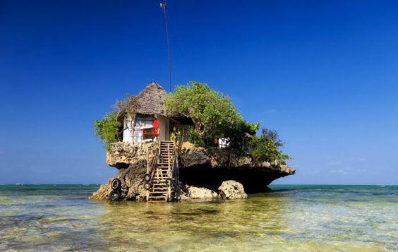 The Rock Restaurant in Zanzibar, East Africa. Add it to your bucket list! Read more at jebiga.com #travel #restaurant #africa
