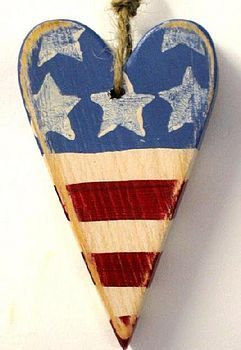 Old Glory Heart wooden home decor wall decor independence day stars and stripes america