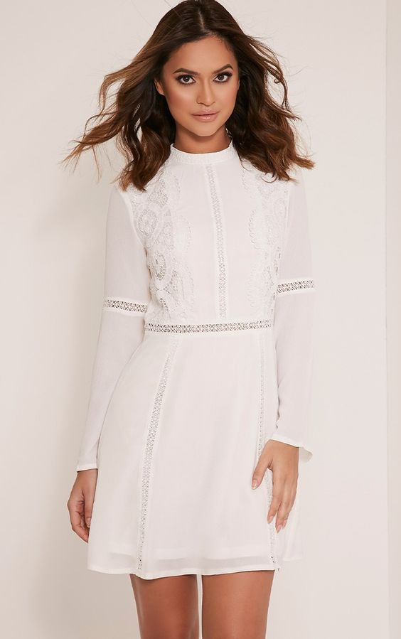 Sian White Lace Detail Skater Dress Image 1
