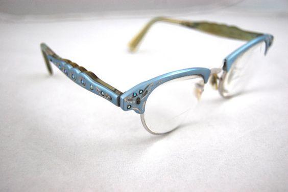 1950s Powder Blue Metal Eyeglasses  50s by FrocksnFrillsVintage