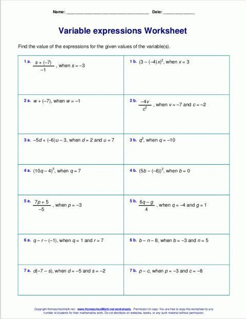 Evaluate The Expression Worksheet 8 5th Grade Expressions Worksheet Grade With Images Evaluating Expressions Math Expressions Algebraic Expressions