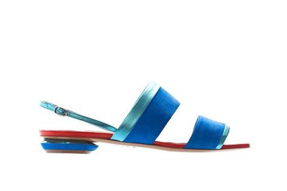 Nicholas Kirkwood Ocean Blue Suede And Aqua Laminated Leather Almond Toe Flat Sandal, $587, available at Nicholas Kirkwood