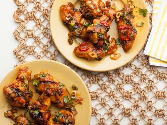 Smoky Grilled Chicken Wings with Pickled Red Chiles, Dates and Fresh Mint from FoodNetwork.com