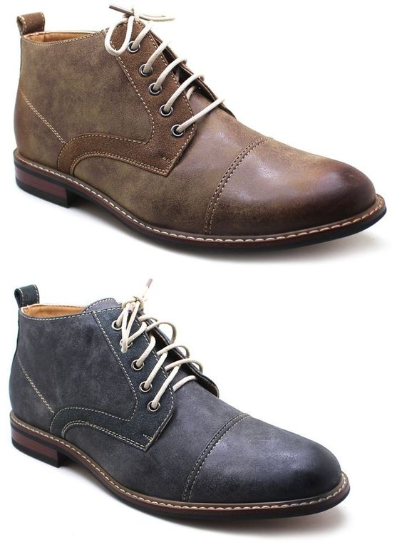 Details about Ferro Aldo Mens Ankle Boots Lace Up Leather Lined ...