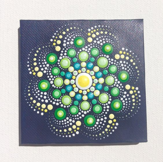 Original Small Mandala Painting on Canvas, Painting, Office and home ornament…