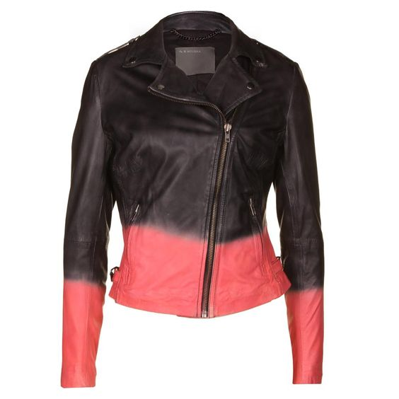 Muubaa | Women's Dip-dye Black & Coral Pink Leather Jacket ...