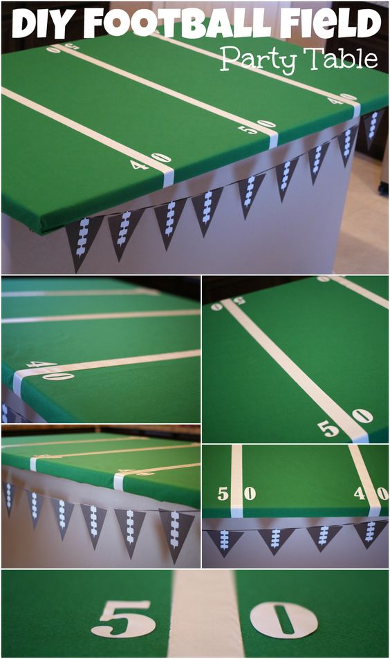 Easy DIY Football Field Party Table { anightowlblog.com } #football #superbowl #party: