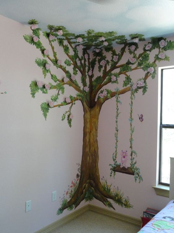 tree muriels for nursery | mural girls mural tree mural garden mural children mural kids mural ...