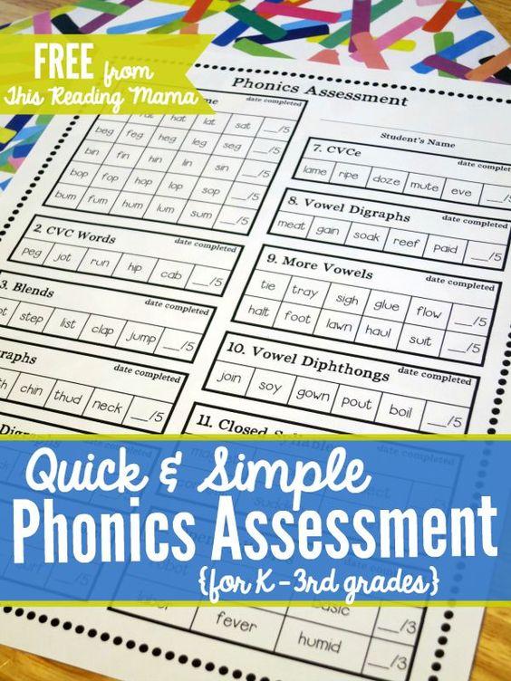 FREE Phonics Assessment for K-3rd grades