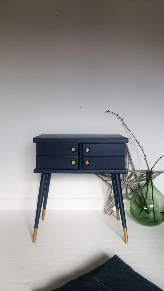 Travailleuse vintage revisitée Bleu nuit et Or par lillevintage sur Etsy