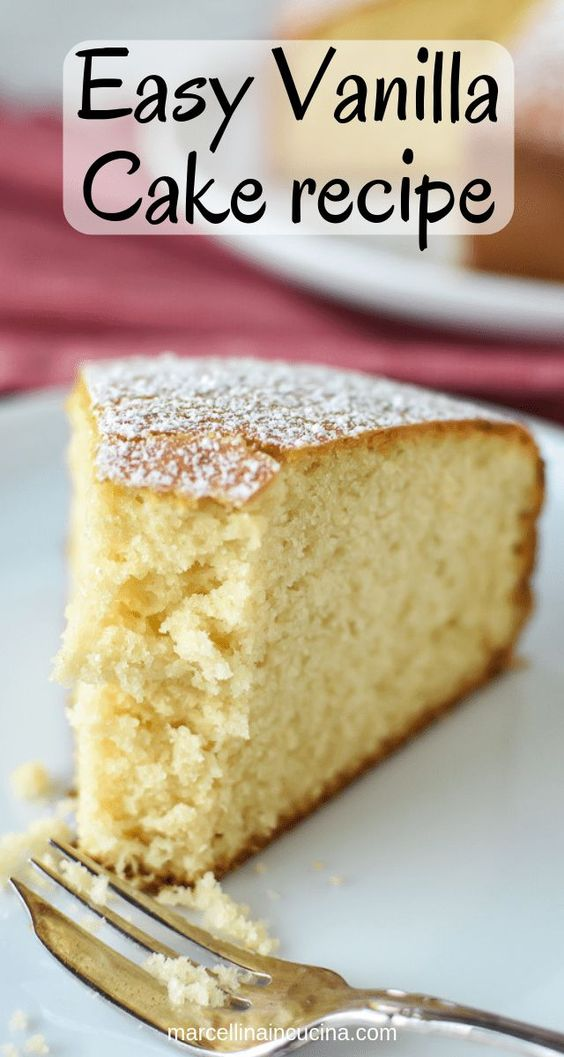 This Easy Vanilla Cake recipe is a classic and comes together in minutes. Even if you've never baked a cake from scratch, you will find this simple and achievable! #easyvanillacake #vanillacake #easycakerecipe #easyrecipe