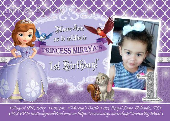Princess Sofia the First Birthday Invitation age wording fully – 1st Year Birthday Invitation Wordings
