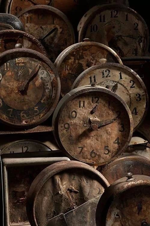 You never know what treasures you'll find at a flea market. Time stops for these rusted vintage clocks.: