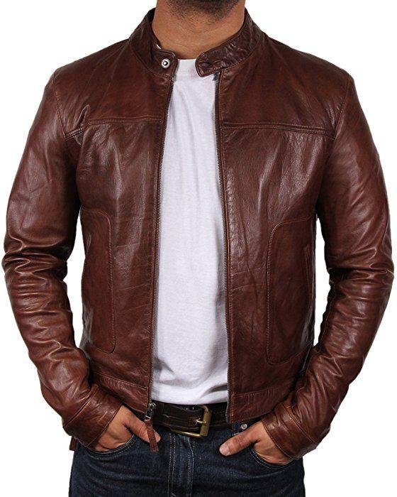 Herren Lederjacke Jacke aus Lamm Nappa Leder Braun