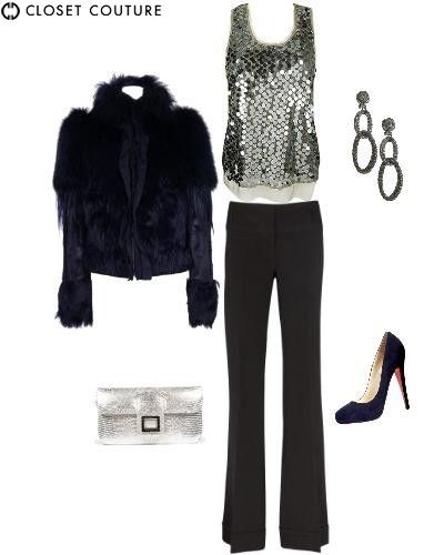 Night on the Town - black pants teamed with textured items, both shiny and faux fur!!!