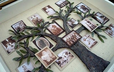 ~ My Family Tree Shadow Box ~ Crafty Sisters....I'd keep my leaves in a bronze tone and not green....