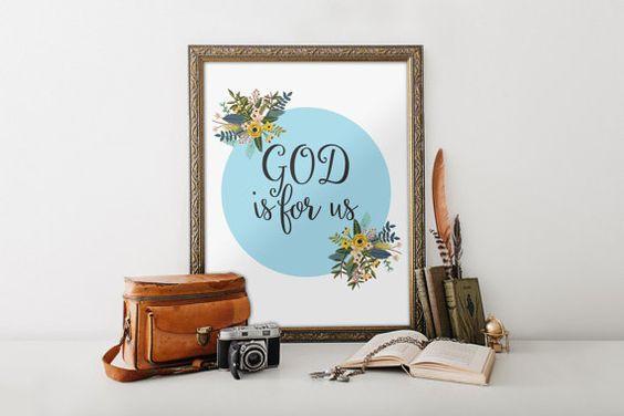 Nursery bible verse quote Bible Verse Art print Printable Scripture wall art decor Bible verse print - God is for us, Romans 8:31