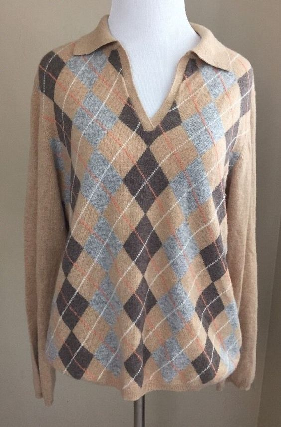 Charter Club 100% 2ply Cashmere Camel Tan Beige Gray Brown Argyle Collar Large L #CharterClub #Collared