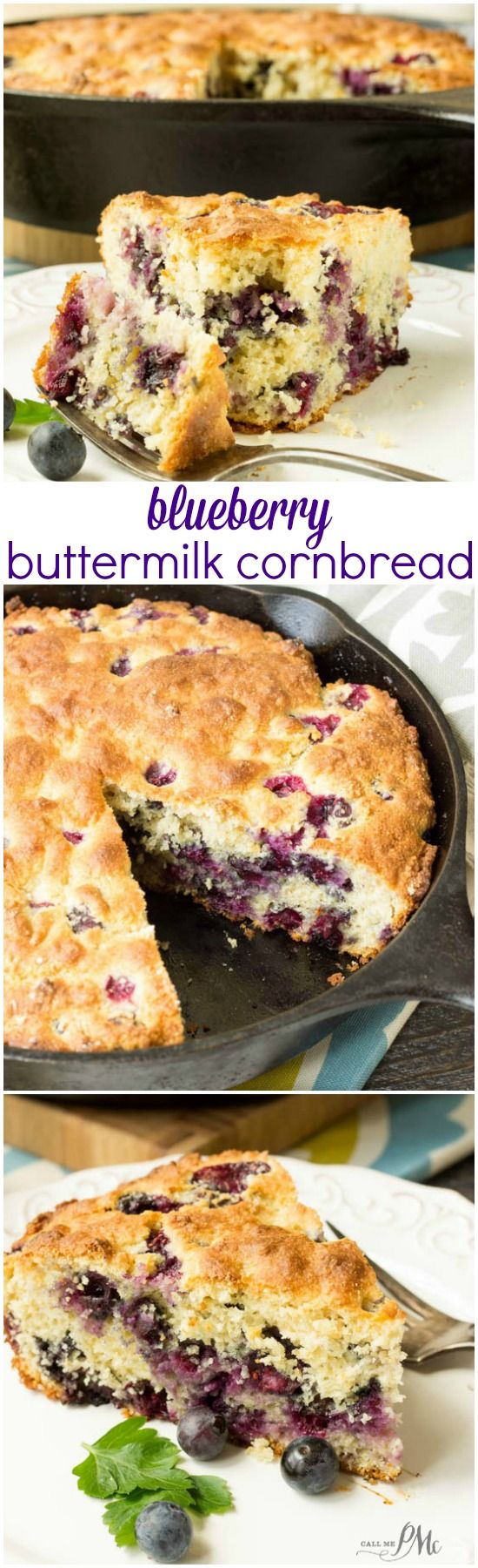 Blueberry Buttermilk Cornbread is loaded with fresh, sweet blueberries. Comfort food at its' best, this homemade cornbread recipe makes a perfect snack, side dish or dessert topped with vanilla ice cream. - Call Me PMc
