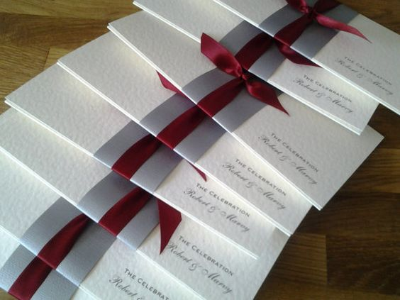 Elegant wedding invitation, silver and red, perfect for a winter wedding by LizzyLemonSouthsea on Etsy