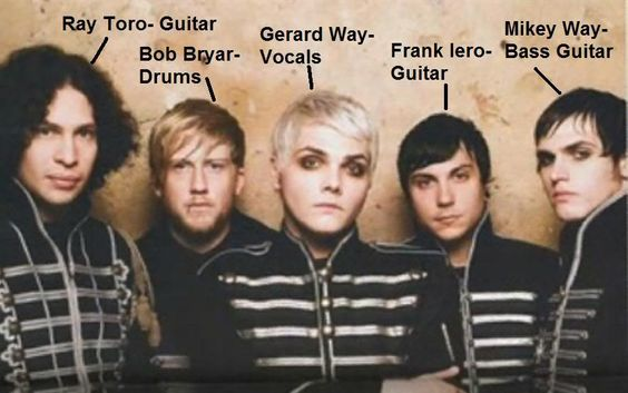my chemical romance members' names..JUST IN CASE THERE IS A KILLJOY IN THE WORLD WHO DOES NOT KNOW THEIR NAMES..lol