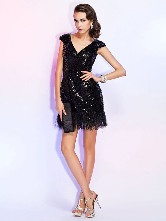 TS+Couture+Cocktail+Party+/+Holiday+/+Wedding+Party+Dress+-+Black+Plus+Sizes+/+Petite+Sheath/Column+V-neck+Short/Mini+Sequined+-+USD+$99.99