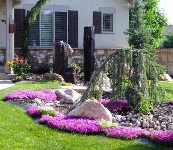 Landscape Design Ideas For Small Front Yards landscape design ideas front yard Landscaping Ideas For Small Front Yards Garden Design Ideas Flower Beds Decorative Rocks Water Feature