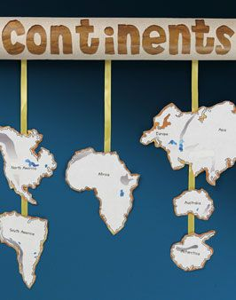 Continents Mobile - Great visual to help kids remember which continents are lined up over other ones...