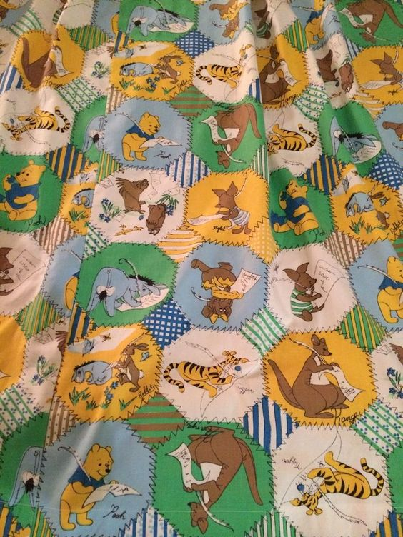 Vintage 60s 70s Winnie The Pooh and Friends Bed Curtain Panels Set Of 2