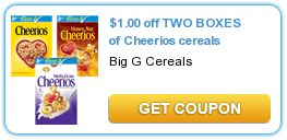 $1.00 off TWO BOXES of Cheerios cereals