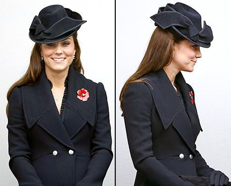 Pregnant Kate Middleton Bundles Her Baby Bump in a Black Coat, Structured Hat to Honor the Troops - Yahoo Celebrity