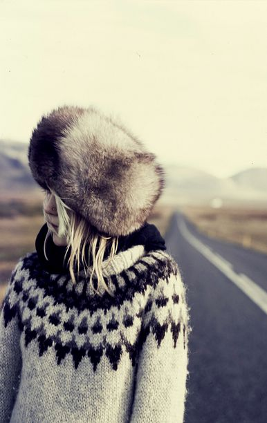 Fur hat and Nordic sweater, not necessarily from the 60s, but in that style.