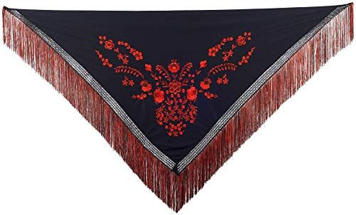 Black with Gold Pattern with Black Fringe New Spanish Flamenco Large Shawl