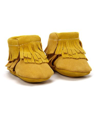 Love this Mustard Yellow Suede High-Top Moccasin Bootie on #zulily! #zulilyfinds