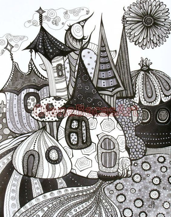 Black Grey White ORIGINAL ABSTRACT Fantasy Fairy Tale Town Mixed Media Ink #Arts Design