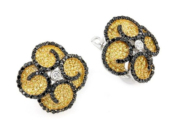 Sterling Silver.925 Micro Pave Setting Earrings Black & Yellow CZ With White Center