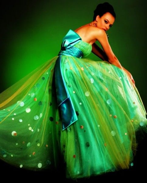 lovely green gown; would never wear it, but its unique