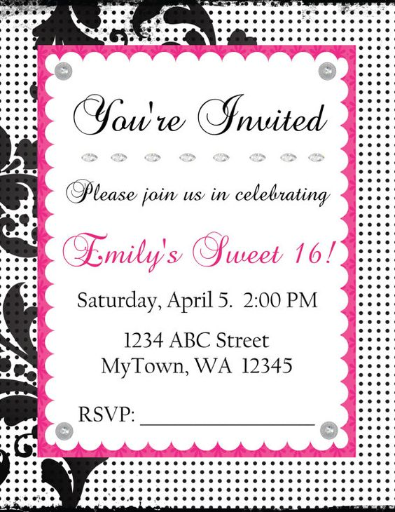 Digital invitation from Etsy - A Higher Calling.  Beautiful black, white and hot pink.  $5.99 and customizable!  Download once, print forever. :)