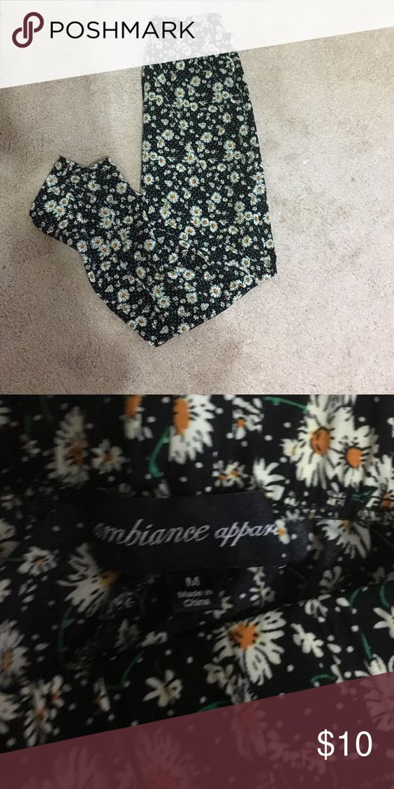 Cute Daisy Printed Pants A pair of black pants with daisies all over them. Very cute and stylish. Ambiance Apparel Pants